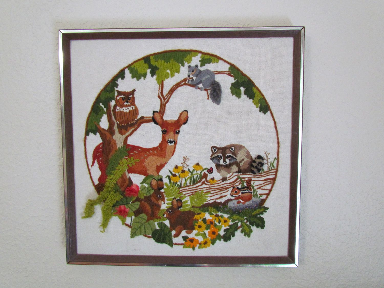"""1979 """"Babes in the Wood"""" Finished Embroidery By Sunset Designs"""