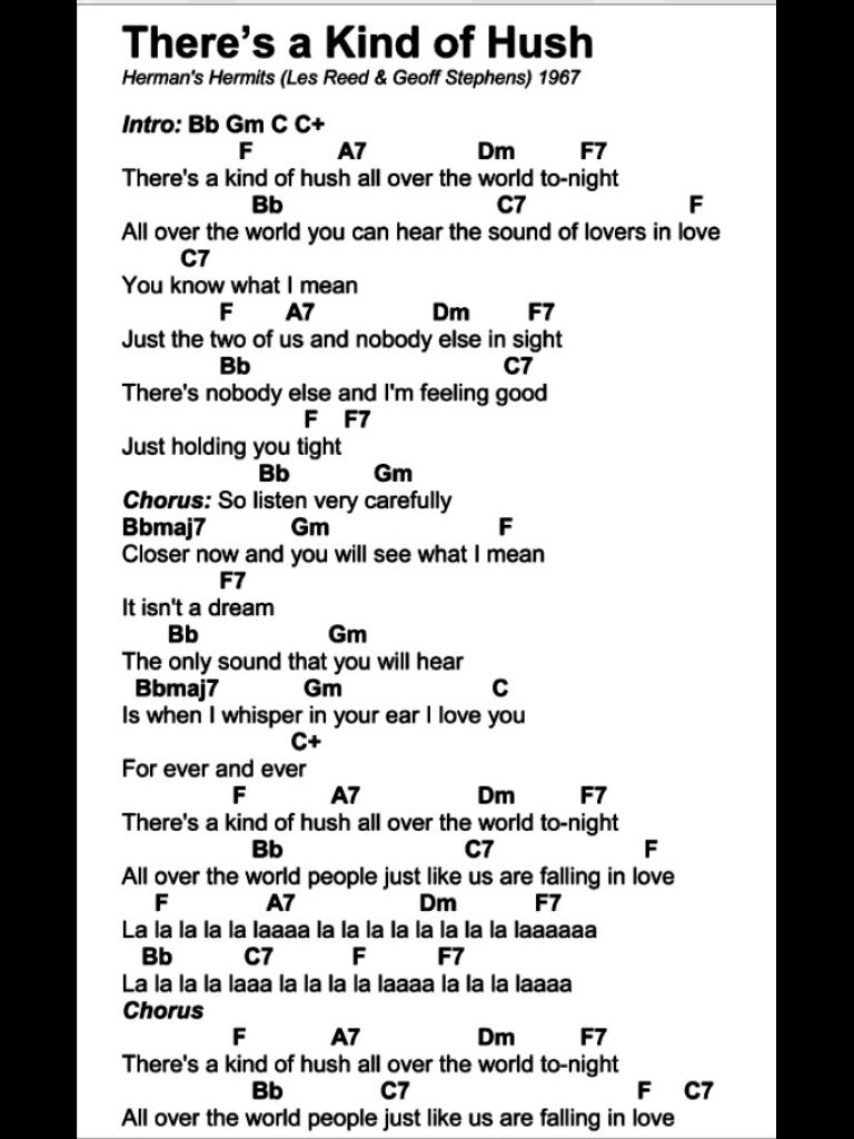 Theres A Kind Of Hush Karen Carpenter Ukulele Chords And Lyrics