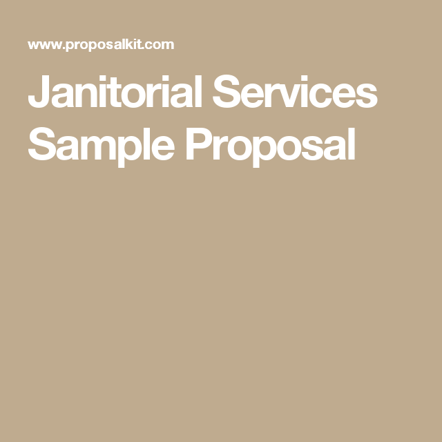 Janitorial Services Sample Proposal  Janitorial