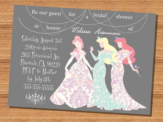 Princess wedding shower invitation Disney Princesses Silhouette