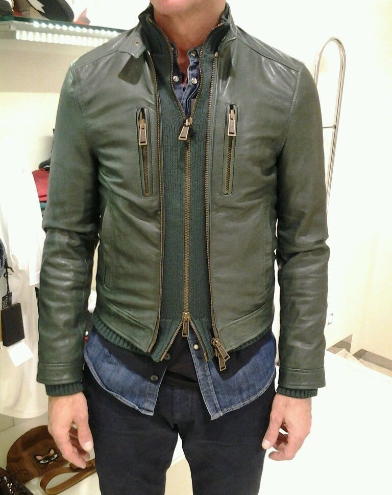 save off 30fa6 9d525 Dsquared Green Leather Jacket | MyStyle. nel 2019 | Moda ...