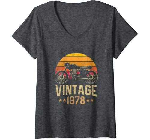 Womens Vintage 1978 Retro Cafe Racer Motorcycle 41st Birthday Gift V Neck T Shirt