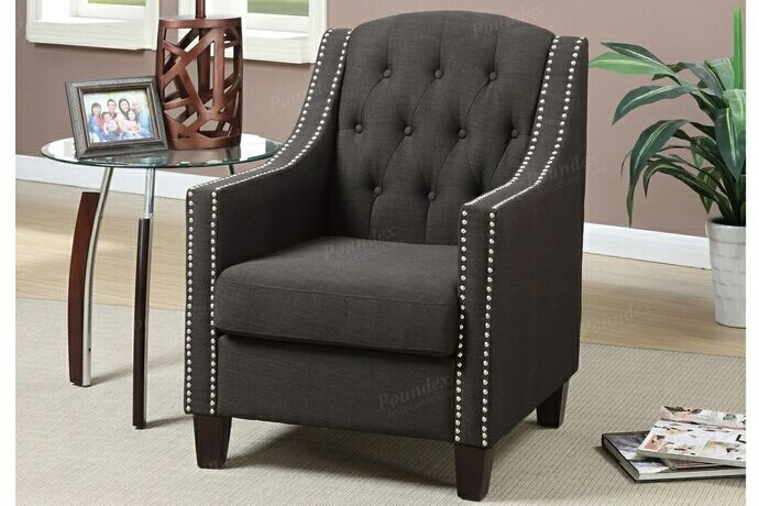 Astounding Poundex F1525 Collette Ash Black Fabric Tufted Back Accent Caraccident5 Cool Chair Designs And Ideas Caraccident5Info