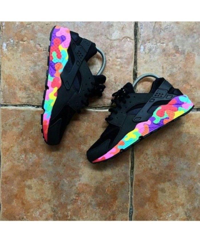 wholesale dealer 4b3ec 1e080 Nike Huarache Custom Puzzle Piece Black Sale Cheap UK