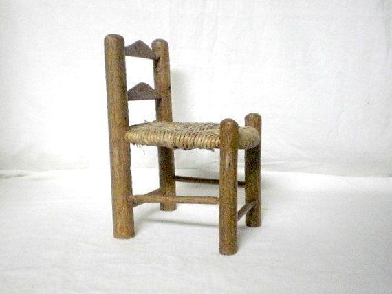 vintage 80's wood chair miniature photo prop by VeraseraVintage