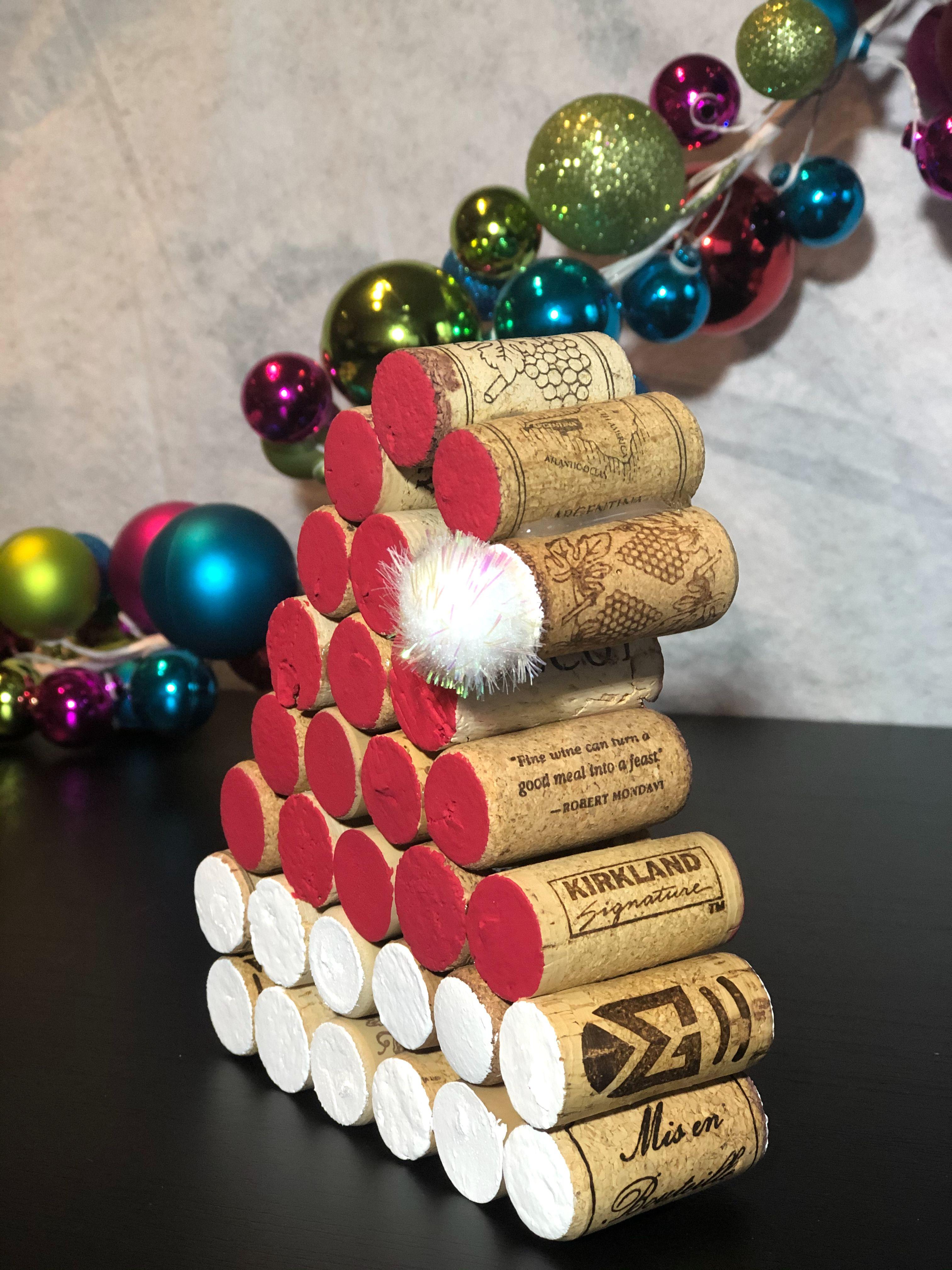 Wine Cork Santa Hat In 2020 Wine Cork Crafts Christmas Wine Cork Christmas Tree Cork Crafts Christmas