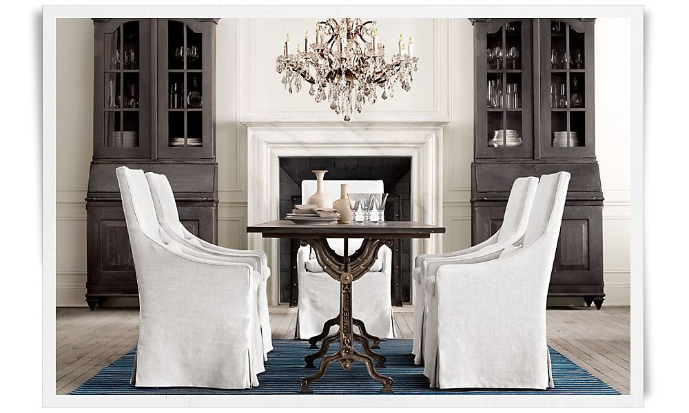 RH\'s Factory Zinc Dining Table, Slope Slipcover Dining Chairs ...