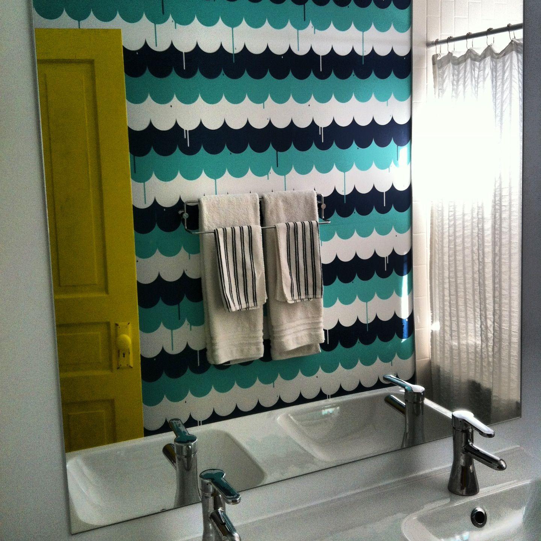 White bathroom blik wallpaper yellow door most excellent