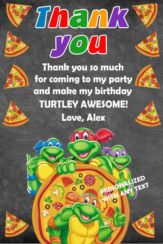 TMNT thank you card TMNT birthday thank you by DesignFromAlexa ...