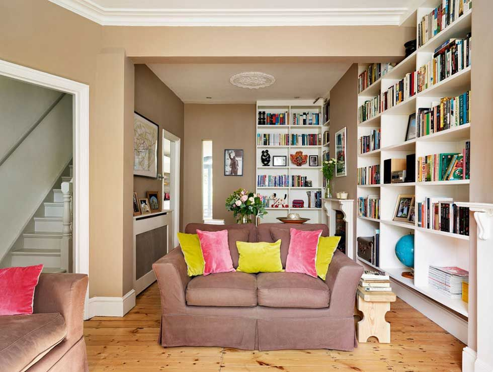 Brown Open Plan Living Room With Bespoke Shelving And Window Victorian Terrace Interior Bright Living Room Victorian Homes