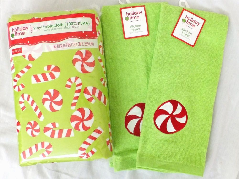 Christmas Kitchen Towels Vinyl Tablecloth Candy Cane Holiday 60