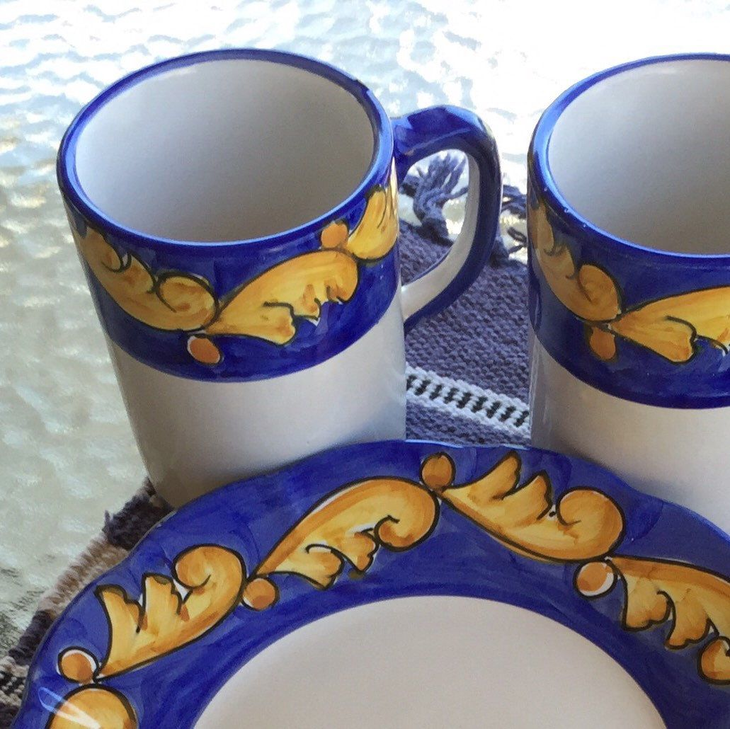 A lovely way to start your day! Hand painted Solimene Vietri 2 cups/2 plates.