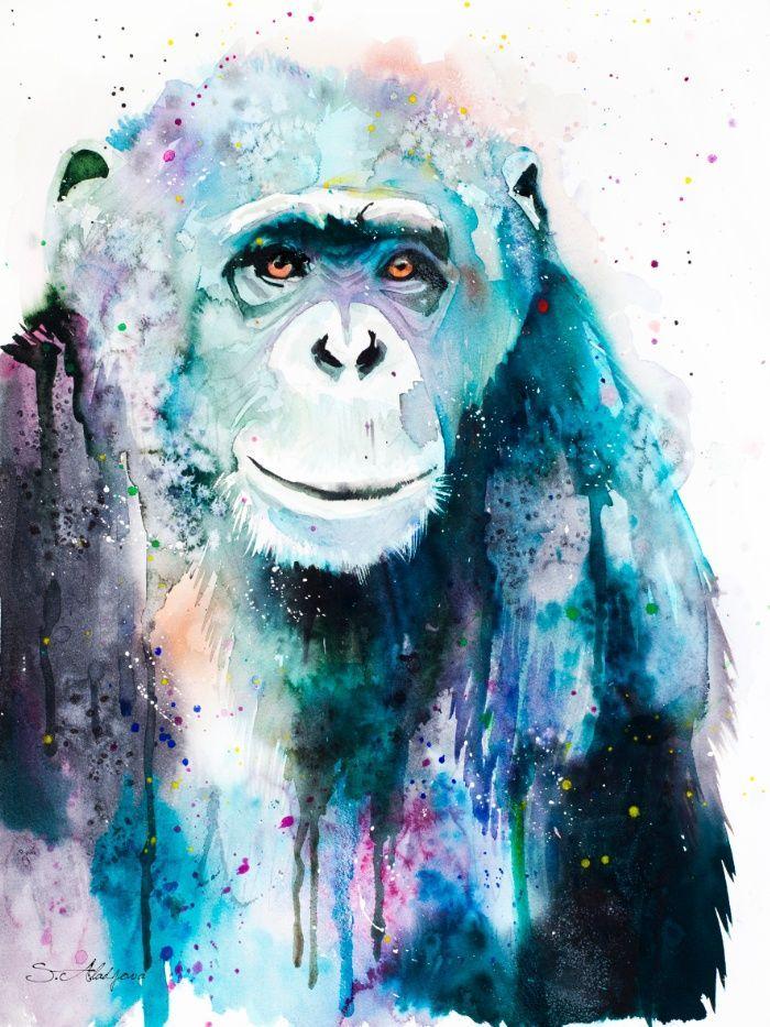 Kết quả hình ảnh cho tranh khỉ màu nước