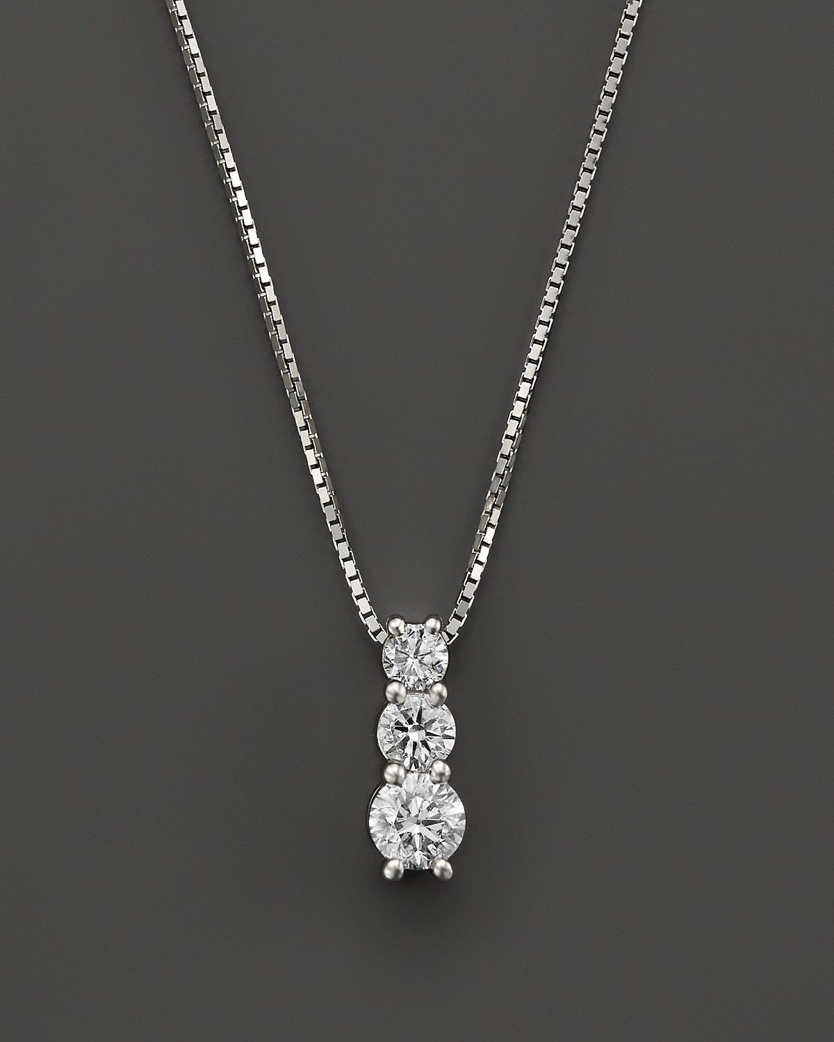 Diamond Three Stone Pendant Necklace In 14k White Gold 20 Ct T W Bloomingdale S Heart Pendant Diamond Diamond Drop Necklace Diamond Pendant