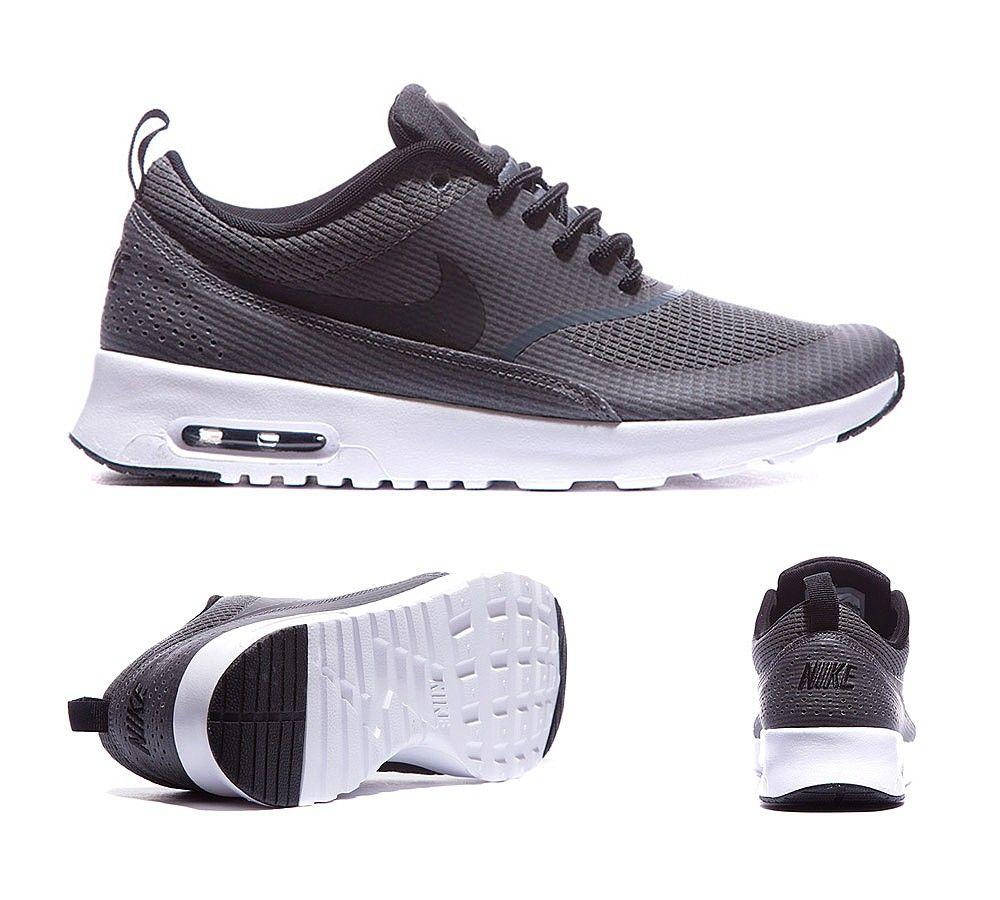 Nike Womens Air Max Thea Text Trainers Dark Grey Black White