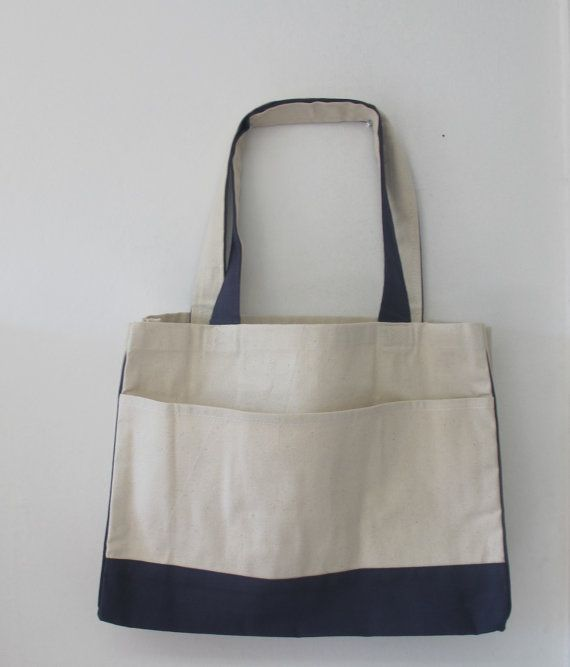 Cotton Canvas Tote Bag with Inside Zipper Pocket,Great for Grocery ...