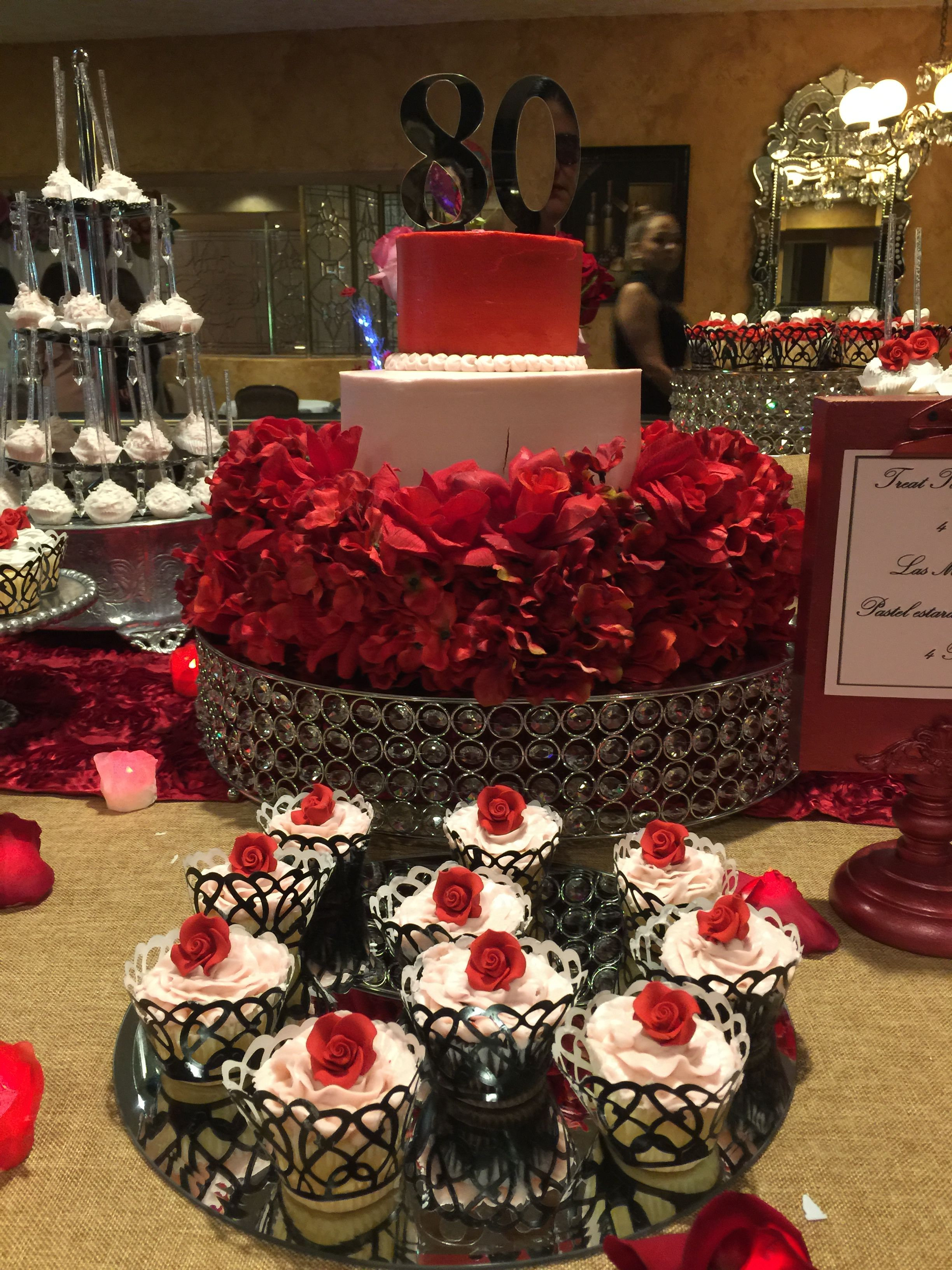 80th Birthday Party Cake Red Rose Theme Dessert Table Parties