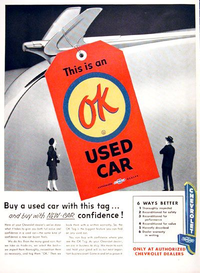 1954 chevrolet ok used car vintage ad buy a used car with this tag and buy with new car. Black Bedroom Furniture Sets. Home Design Ideas