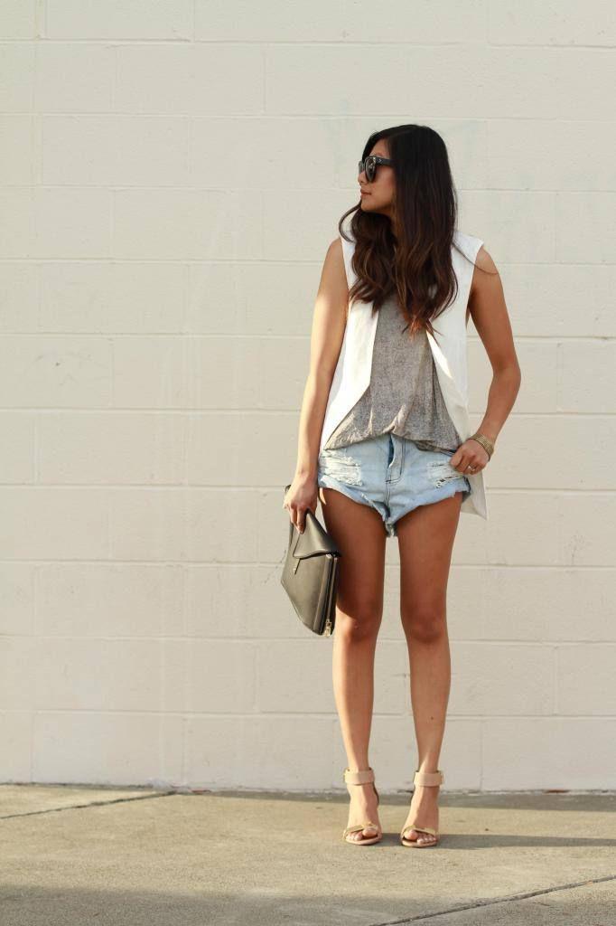White vest, denim shorts casual