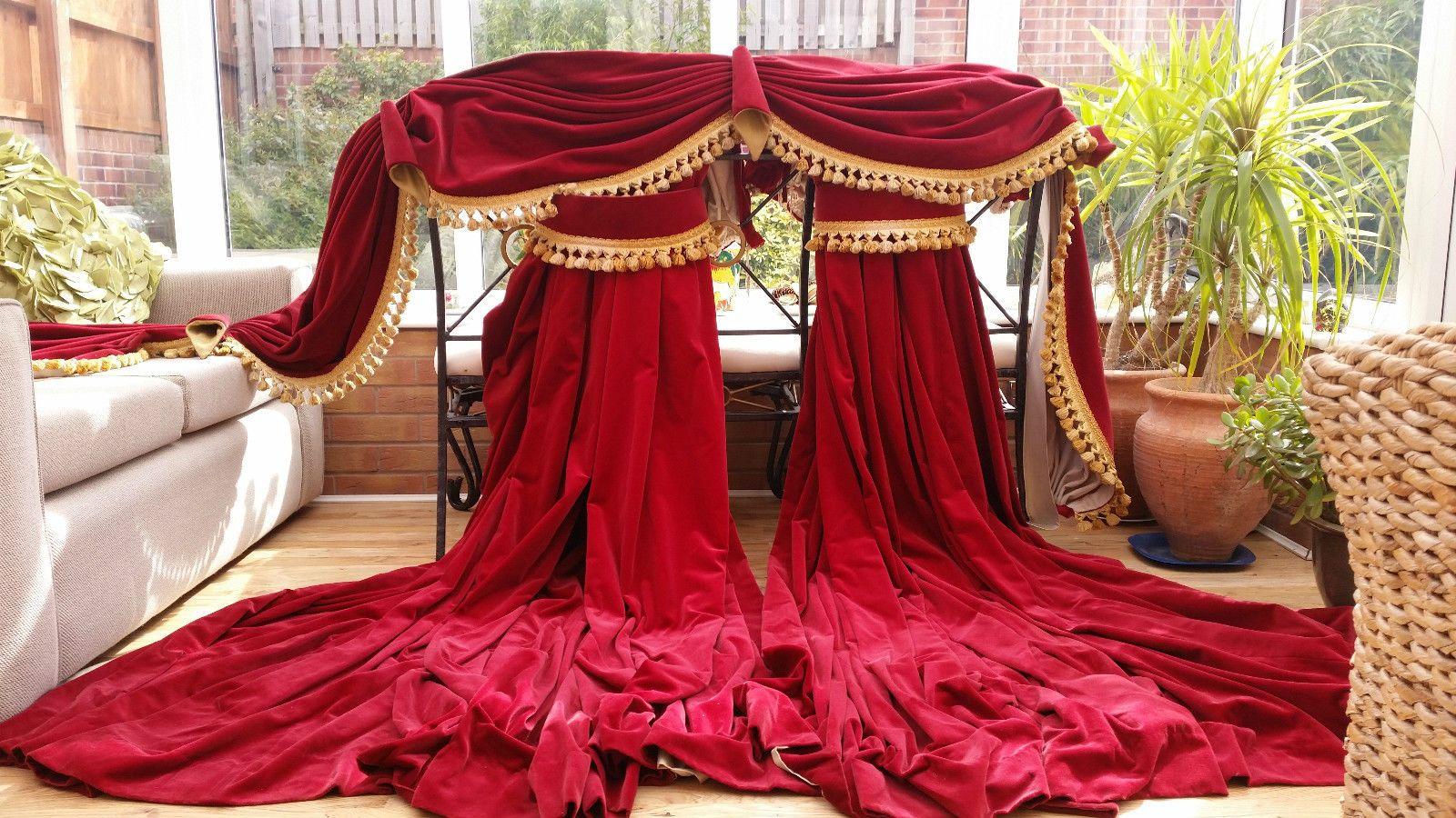 "HUGE PAIR RED VELVET LINED CURTAINS & PELMET 84"" DROP BY 136"" WIDTH PAIR 1 in Home, Furniture & DIY, Curtains & Blinds, Curtains & Pelmets | eBay"