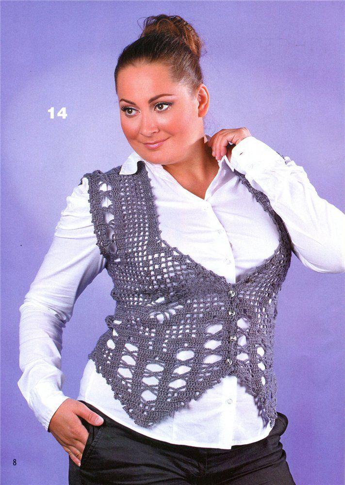 Стильные жилетки на блузку фото крючком