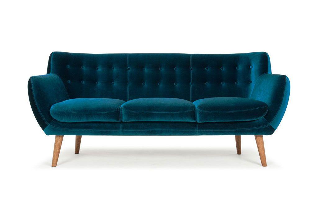 Velour Sofa 3 seater sofa velour petro smoked oak legs r10 600