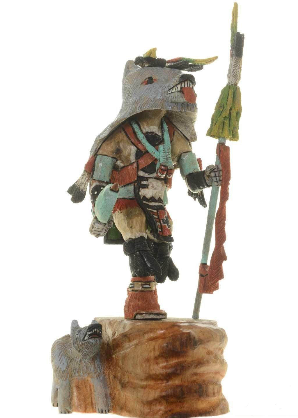Hopi Wolf Kachina Doll By Native American Carver Milton Howard