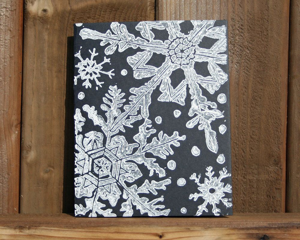 winter snowflakes linocut block print card christmas. Black Bedroom Furniture Sets. Home Design Ideas