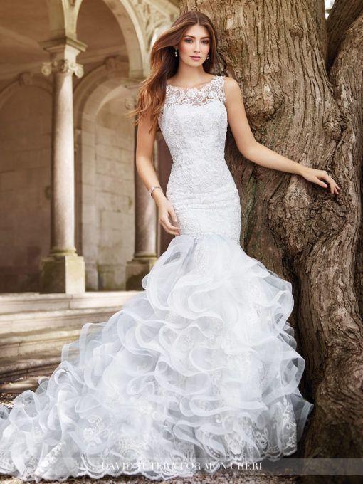 Great Tulle u Lace Mermaid With Ruffled Skirt Wedding Dress Peta