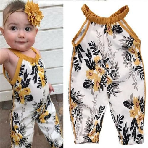 f0bf4d8b3 US Stock Newborn Baby Girls Rompers Sleeveless Floral Clothes ...