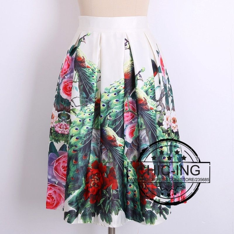 New 2014 Autumn Winter Vintage Peach Blossom Floral Print Ball Gown Pleated Midi Skater Skirt