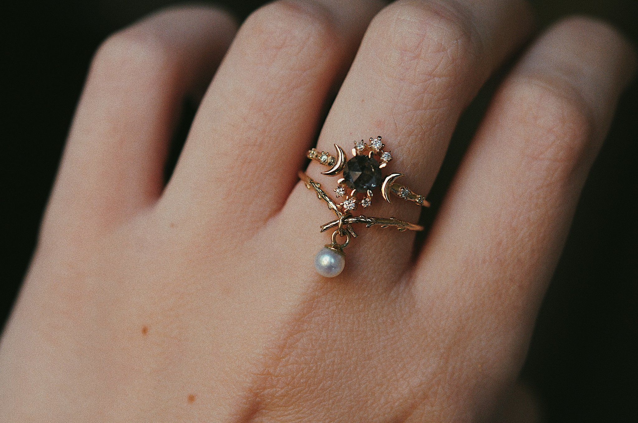 crescent moon Moon and stars ring 14k rose gold salt and pepper diamond
