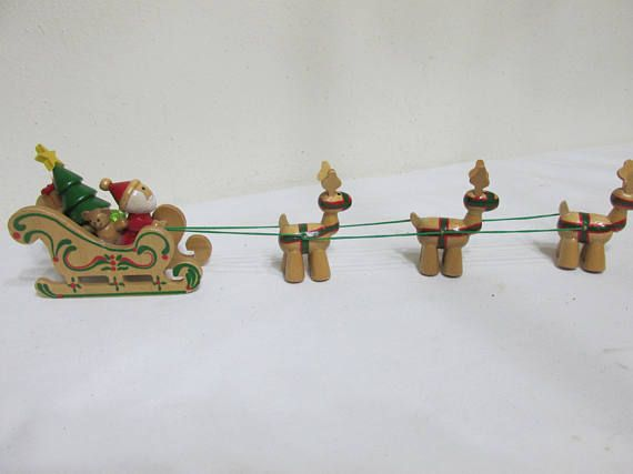 Wood Christmas Decoration Santa in Sleigh pulled by 3 Reindeer