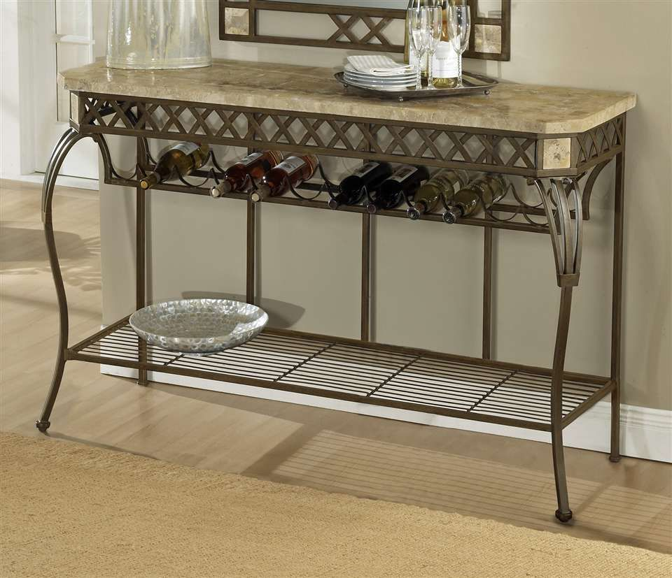 Iron Living Room End Tables Server Console Wrought Table W Fossil Stone Top