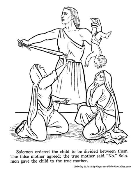 King Solomon divides the child | Bible coloring pages ...