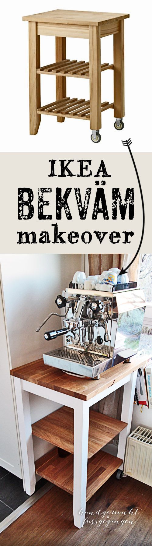 DIY Ikea Bekvam (Bekväm) kitchen cart Makeover & Hack Wie man die ...