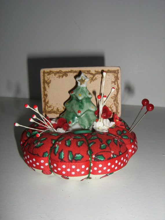 Christmas Vintage Tree Gift Card Holder Pincushion   #1
