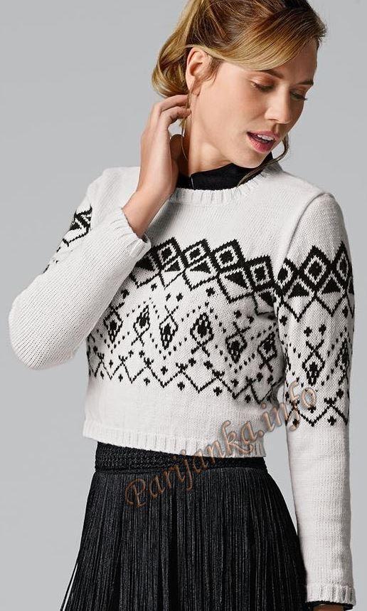 Короткий жаккардовый пуловер (ж) 120 Creations 2015/2016 Bergere de France №4883