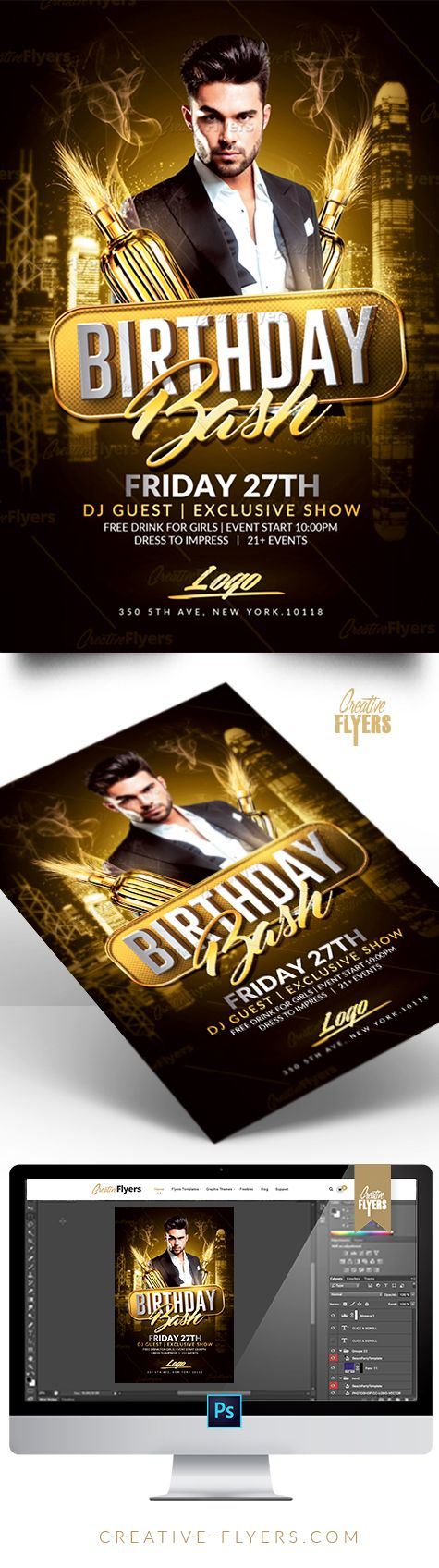 Birthday Flyer Psd Templates Photoshop | DJ Posters | Pinterest ...