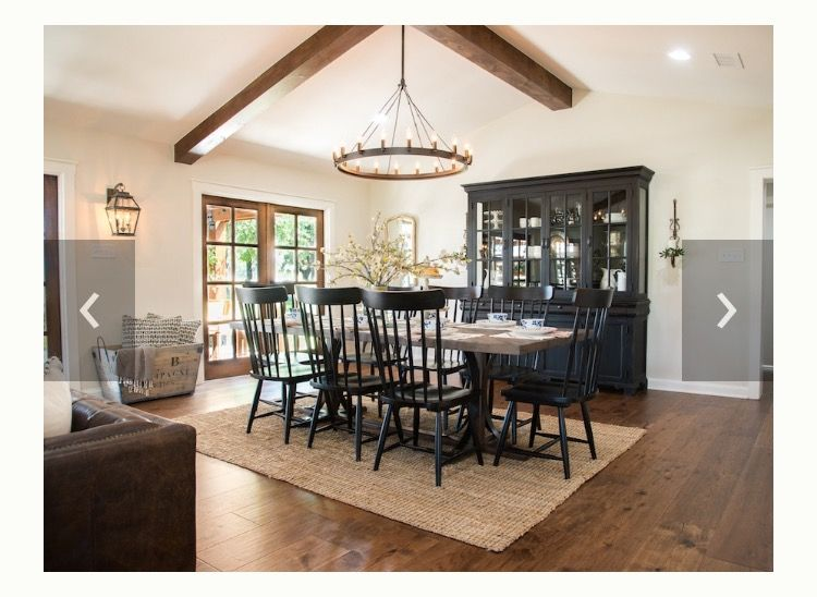 Fixer Upper Dining Room Black Wood Staged Dining