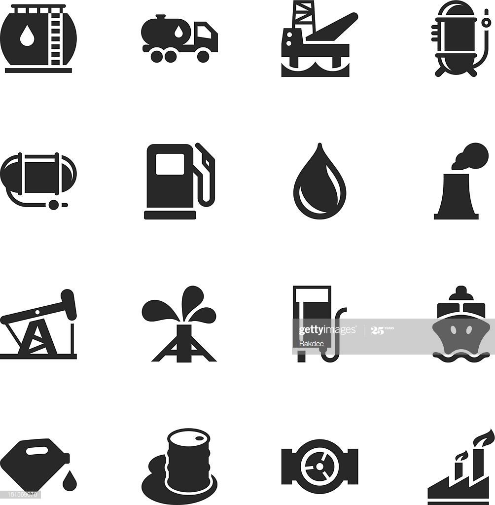 Fuel Industry Silhouette Icons Illustration #Ad, , #ad, #Industry, #Fuel, #Silhouette, #Illustration