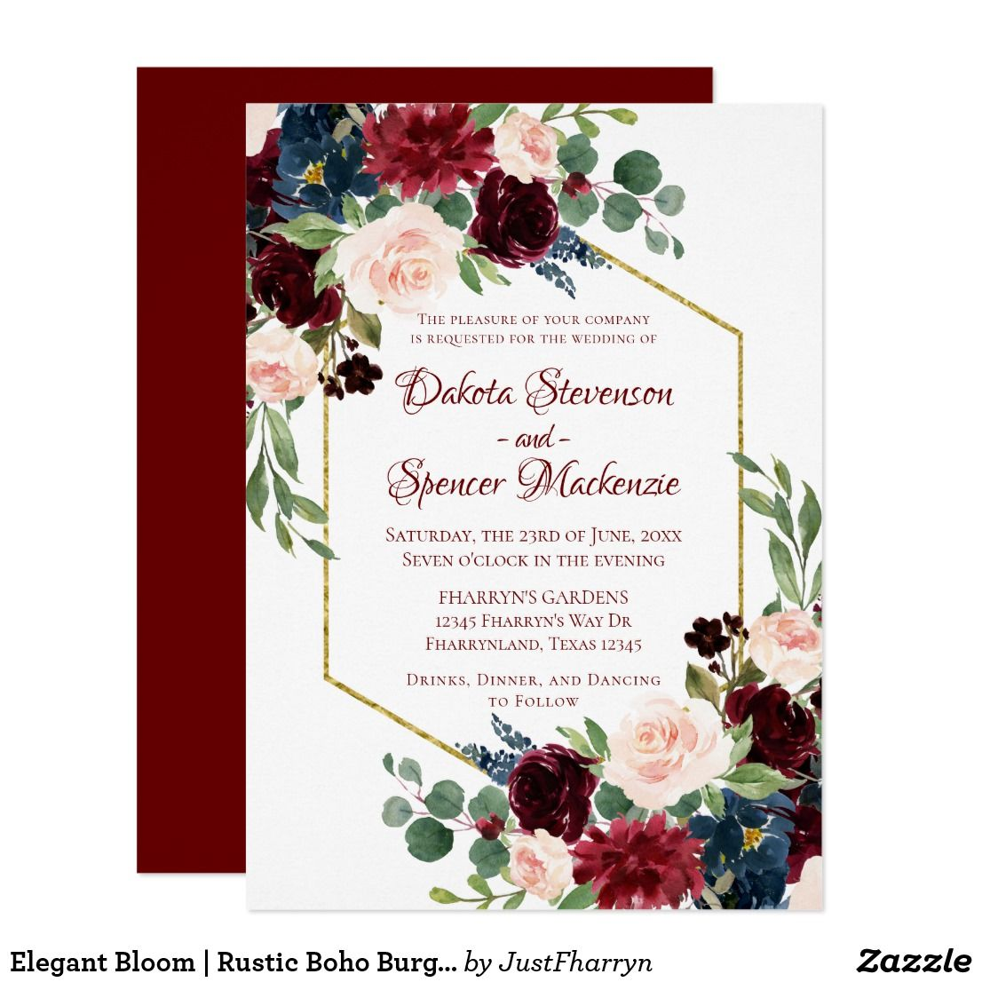 Elegant Bloom | Rustic Boho Burgundy Wedding Card | Burgundy wedding ...