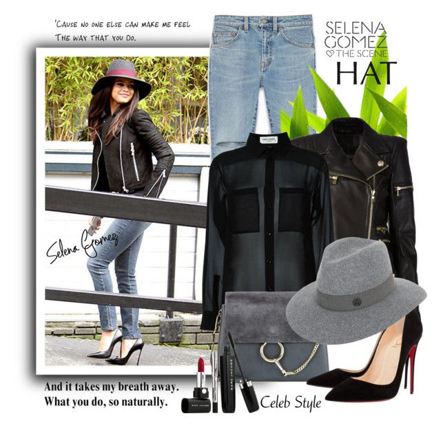 """Selena's hat"" by jan31 ❤ liked on Polyvore featuring Yves Saint Laurent, Balmain, Disney, Chloé, Christian Louboutin, Maison Michel and Marc Jacobs"