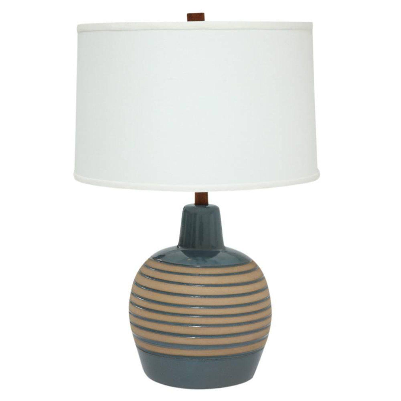 Martz Table Ceramic Lamp Slate Blue Tan Incised Signed Usa 1960s