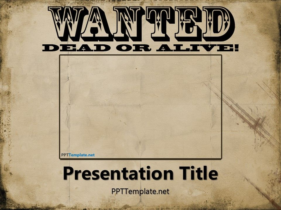 Free Wanted Poster Template for PowerPoint has a wanted poster in - create a wanted poster free