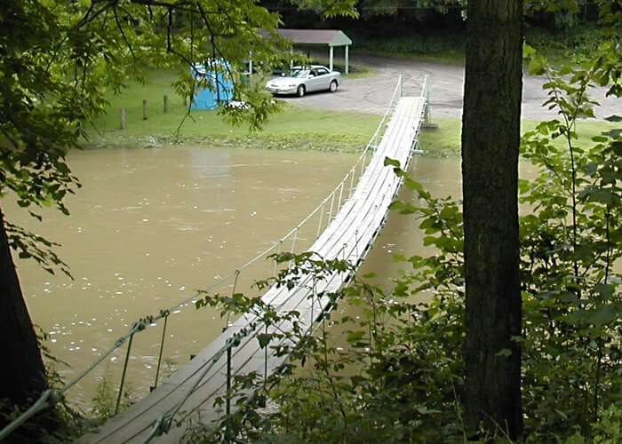 The Swinging Bridge at Willowgrove Park  Taken by Chris Swartz in 2003