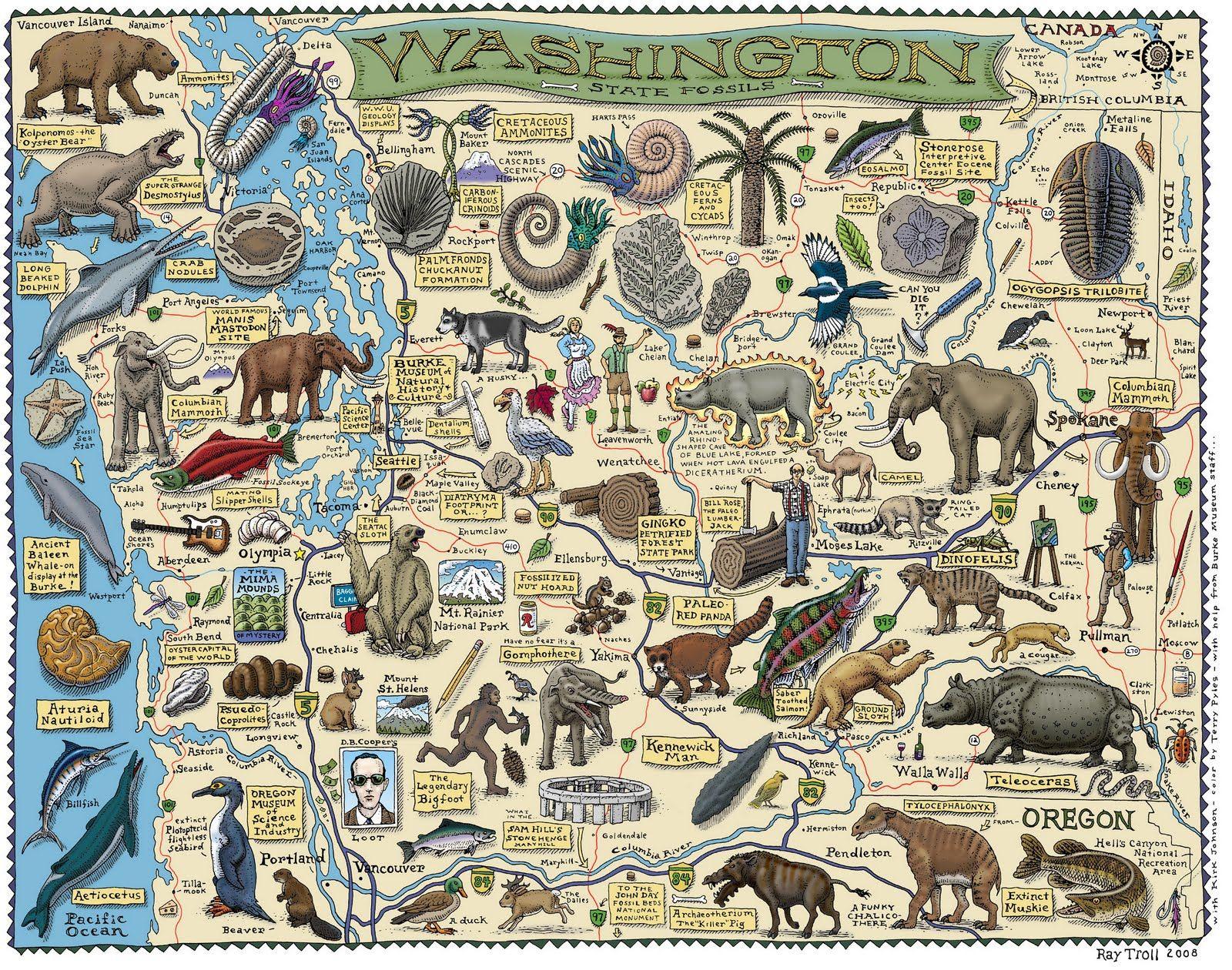 Washington State Fossils Map | Cryptozoology | Washington map ...