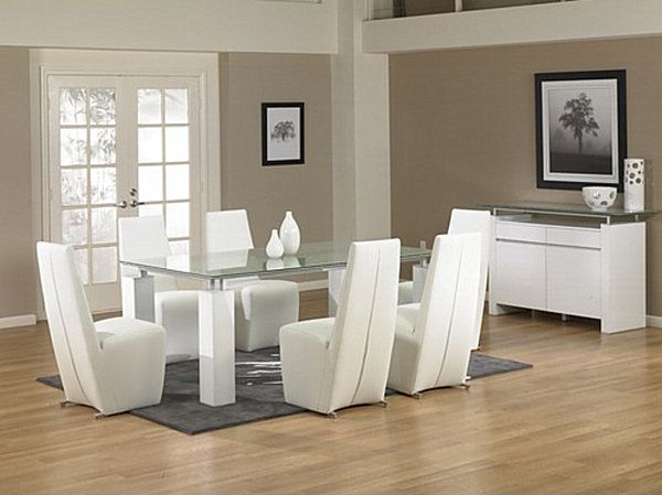 18 sleek glass dining tables - White Glass Dining Table