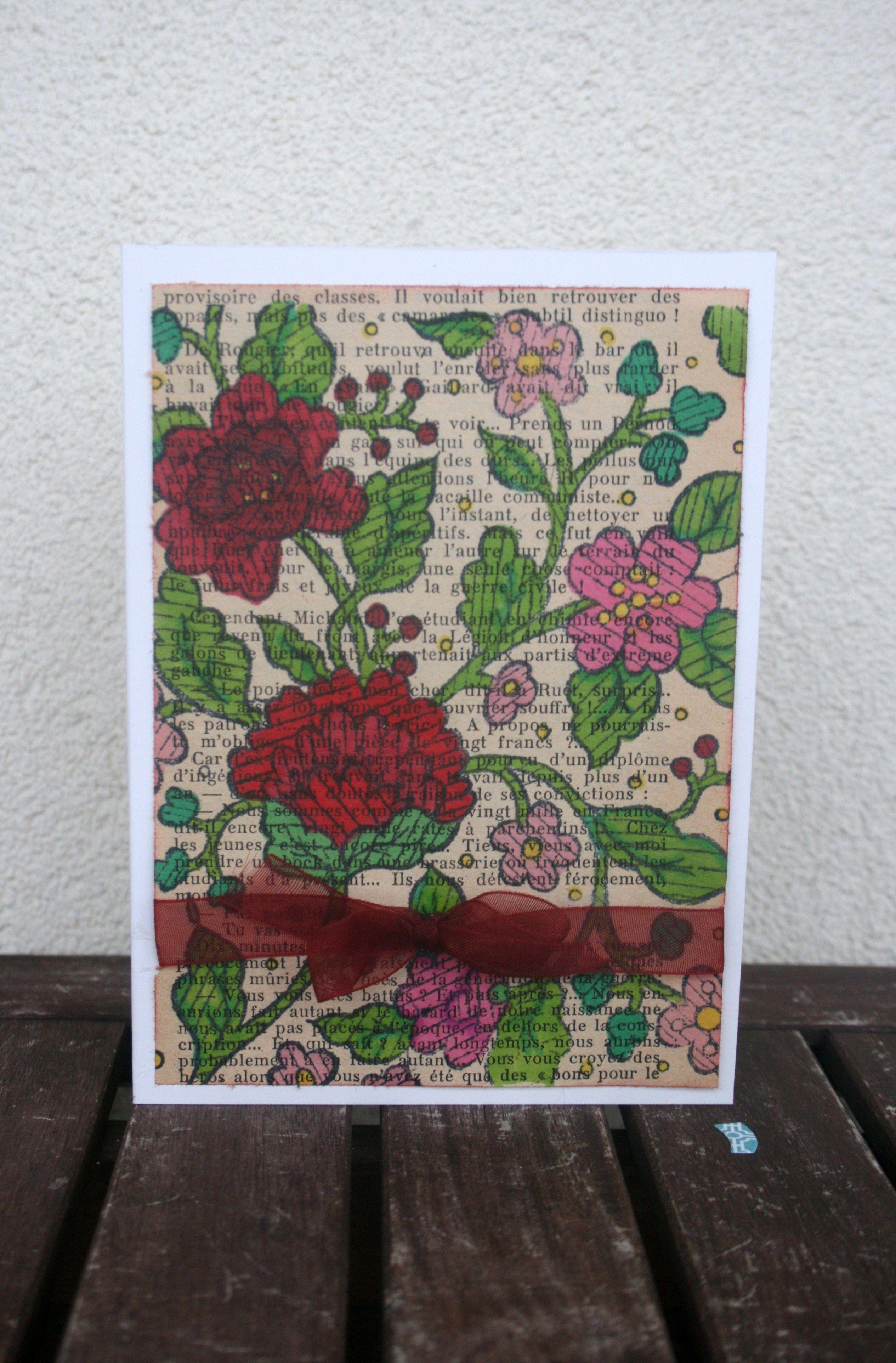 carte tampon fleurs