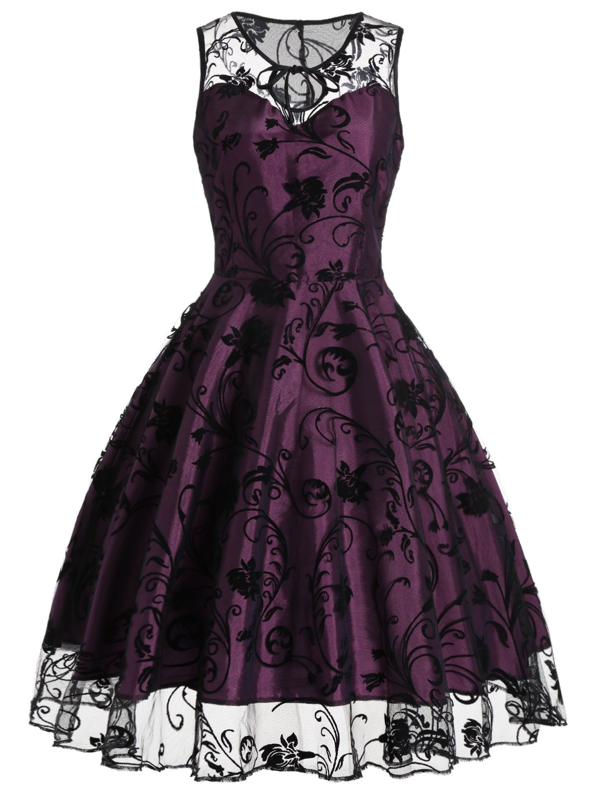 Homecoming Floral Tulle Tea Length Sleeveless Vintage Dress ...